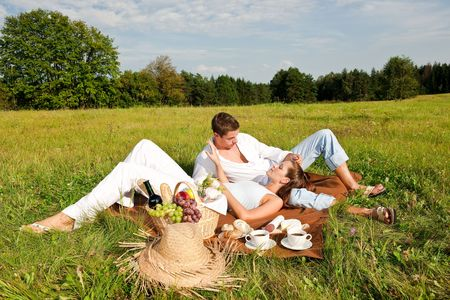 Happy smiling couple having picnic in a meadow on sunny day Stock Photo - 5501225