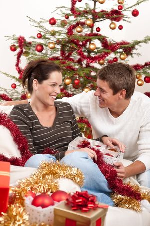 Smiling young couple sitting together in front of Christmas tree Stock Photo - 5677756