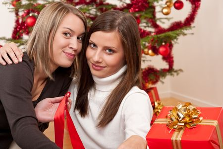 Two young women in front of Christmas tree smiling Stock Photo - 5712851