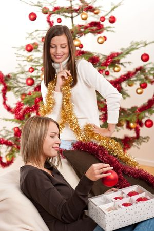 Two cheerful women with Christmas chains and balls in front of tree Stock Photo - 5712897
