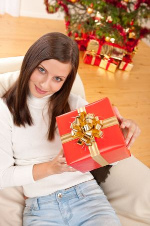 Young woman holding Christmas present in front of tree Stock Photo - 5714149