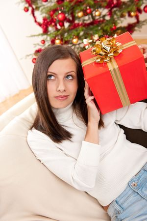 Young woman holding Christmas present in front of tree Stock Photo - 5714159