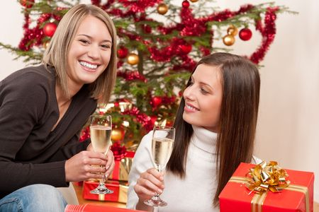 Two young woman with champagne and Christmas tree and present Stock Photo - 5714169