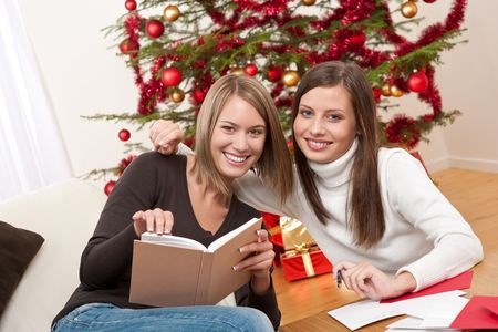 Two young women writing Christmas cards in front of tree Stock Photo - 5714164