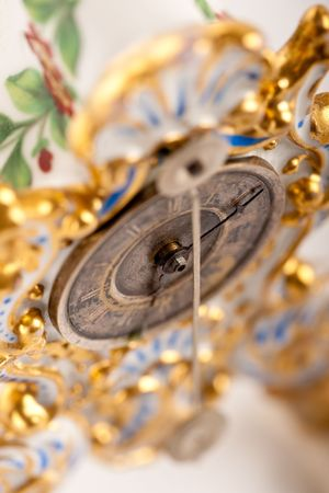 Close-up of antique porcelain clock with Roman numeral, macro lens Stock Photo - 5837704