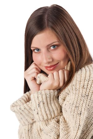 turtleneck: Portrait of beautiful young woman wearing turtleneck on white background