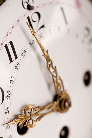 arabic numeral: Close-up of historic clock with arabic numeral, macro lens Stock Photo