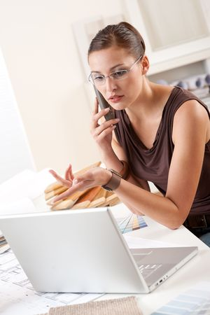 Young female designer on the phone at office with laptop and color swatch Stock Photo - 5965273