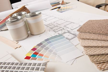 paint swatch: Office of interior designer with paint and color swatch on the desk Stock Photo