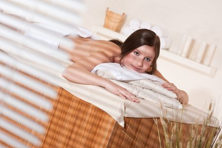 Spa - Young woman at wellness therapy waiting for massage Stock Photo - 6478030