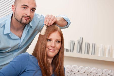 Professional male hairdresser choose hair dye color at modern salon, female customer change hair color Stock Photo - 6478695