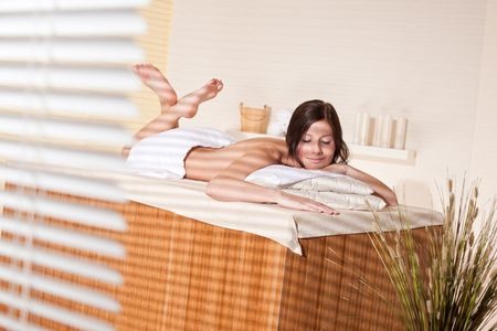 Spa - Young woman at wellness therapy treatment relaxing Stock Photo - 7180786