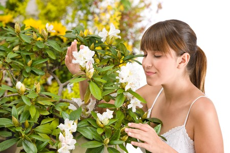Portrait of woman smelling blossom of Rhododendron flower on white background photo