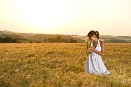 Romantic brunette woman in sunset corn field wear white dress, holding bouquet of flowers