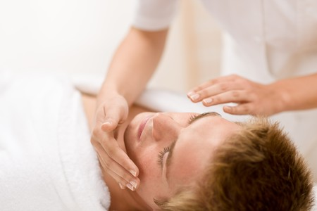 male facial: Male cosmetics - facial massage at luxury spa