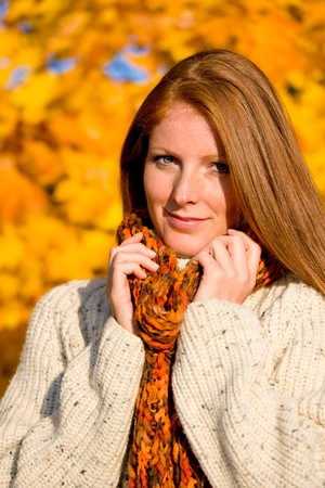 long red hair woman: Autumn country sunset - portrait of long red hair woman