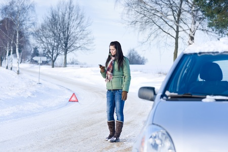 troubles: Winter car breakdown - woman call for help, road assistance