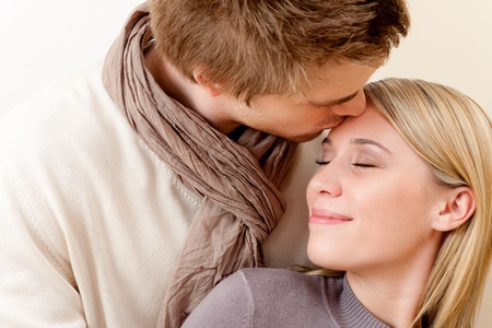 Couple in love - romantic kiss, togetherness photo