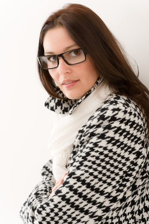 Designer glasses - winter fashion woman portrait wear coat and scarf Stock Photo - 8863334