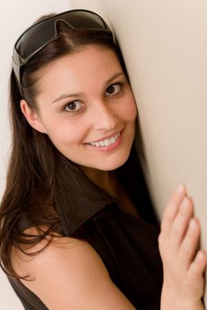 Designer glasses - fashion woman portrait wear brown dress photo