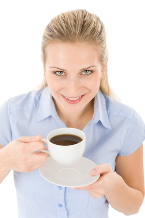 Cheerful young woman with coffee on white background photo