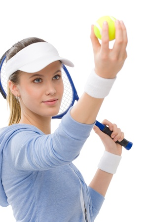woman sport: Tennis player - young woman with racket in fitness outfit Stock Photo