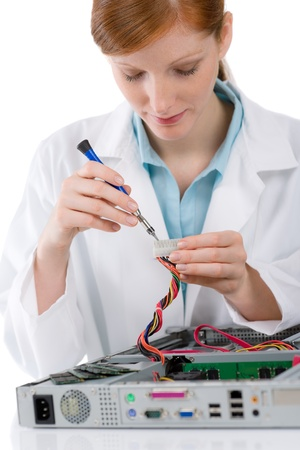 defect: Female support computer engineer - IT woman repair defect