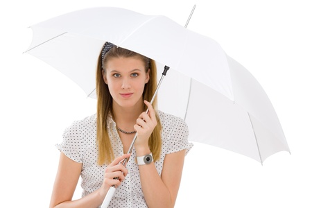 designer clothes: Fashion model - young woman hold umbrella in summer designer clothes Stock Photo