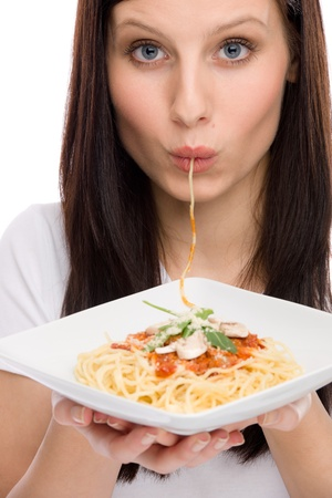 Italian food - portrait of healthy woman eat spaghetti with sauce Stock Photo - 9186444