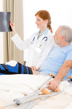 Hospital - female doctor x-ray senior patient with broken leg photo