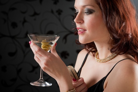 Cocktail party woman in evening dress enjoy drink Stock Photo - 9266428