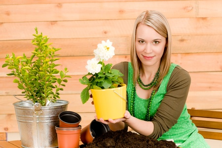 Gardening woman hold flowerpot plant spring terrace photo