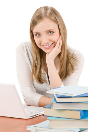 Student teenager happy woman with laptop book Stock Photo - 9527040