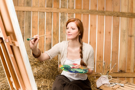 redhair: Young red-hair romantic woman in barn painting color palette