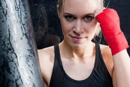 Boxing training blond woman sparring and sweating Stock Photo - 9554010