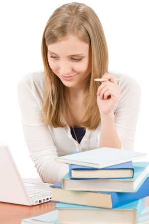 Student teenager happy woman watch laptop hold pencil book Stock Photo - 9553996