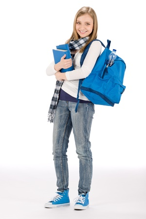 Student teenager happy woman with schoolbag book Stock Photo