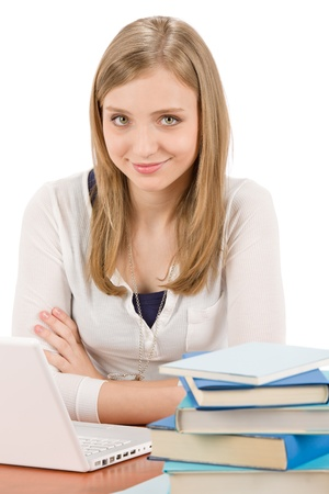 Student teenager happy woman with laptop book Stock Photo - 9554119