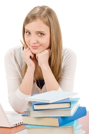 Student teenager happy woman with laptop book Stock Photo - 9554115