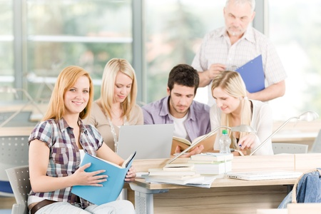 High-school or university young study group with mature professor Stock Photo - 9682685