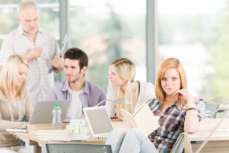 High-school or university young study group with mature professor Stock Photo - 9682703