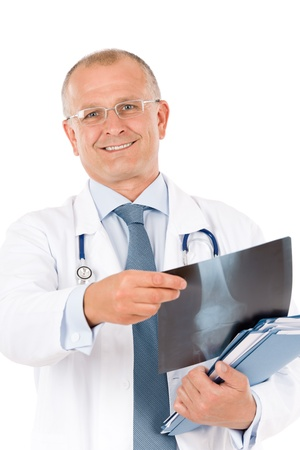 Portrait of hospital professional doctor with stethoscope hold x-ray photo