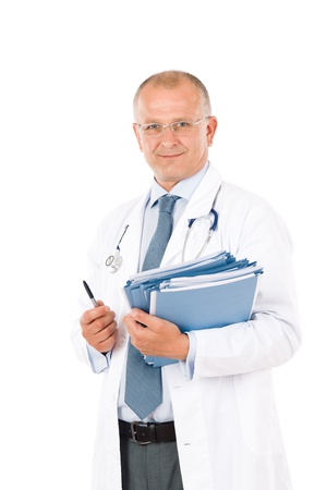 male doctor: Hospital professional doctor male with stethoscope and folders isolated