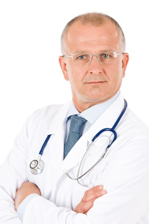 male doctor: Portrait of hospital professional doctor male with stethoscope isolated