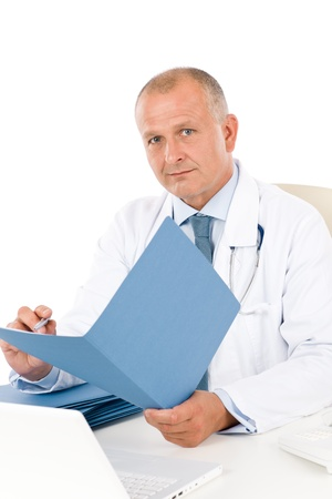 male doctor: Hospital professional doctor male with stethoscope hold document isolated Stock Photo