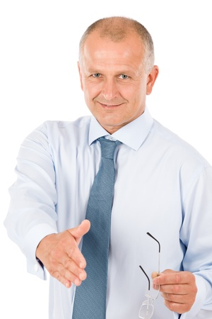 Happy successful businessman giving handshake close deal isolated portrait photo