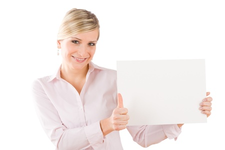 Happy business woman hold blank banner thumbs up Stock Photo - 9824437