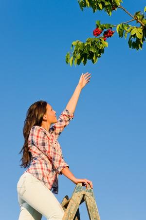 Jonge vrouw het bereiken van hoge kersentak boom, zomer, blue sky
