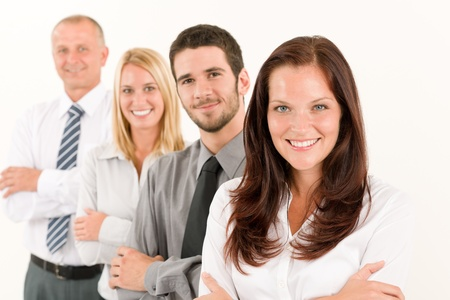 coworker: Business team happy attractive woman colleagues standing in line portrait Stock Photo