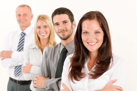Business team happy attractive woman colleagues standing in line portrait Zdjęcie Seryjne